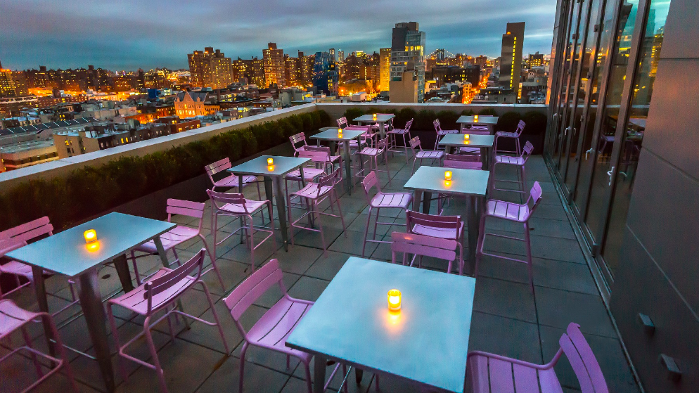 terrasse du roof top de mr purple à new york